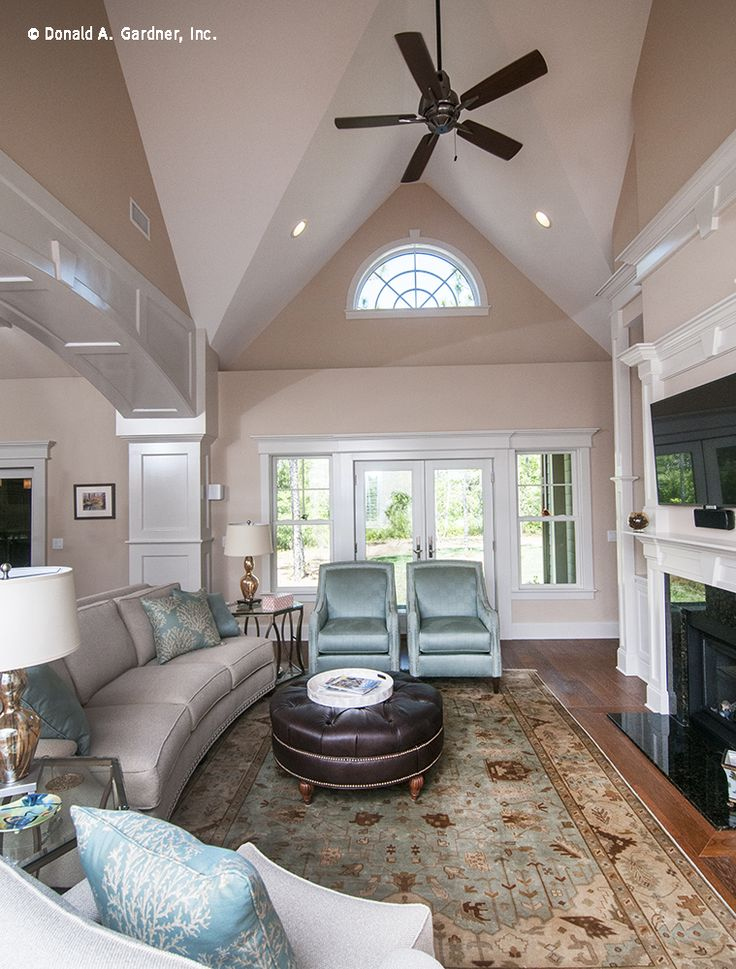 A high vaulted ceiling creates lots of visual space in this great room! https://www.dongardner.com/plan_details.aspx?pid=3676. #Vaulted #Ceiling #GreatRoom