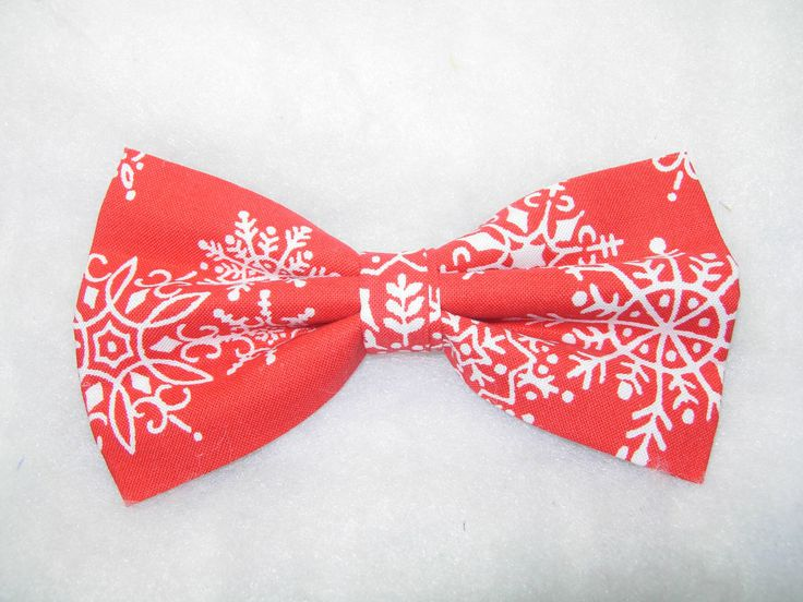 Pre tied bow tie - White snowflakes on bright red Notch 9hm5b