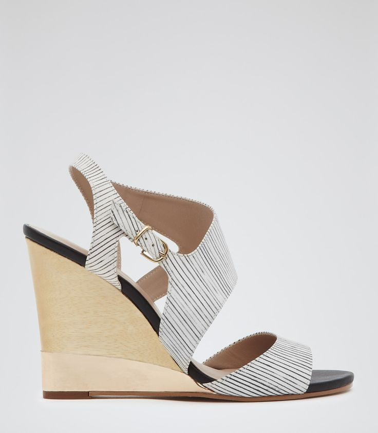 Womens Black/white Striped Wedge Sandals - Reiss Colbert
