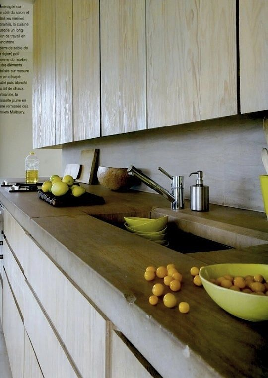 | ♕ |  Organic modern kitchen  | by Maisons Cote' Sud | via aesthetically thinking