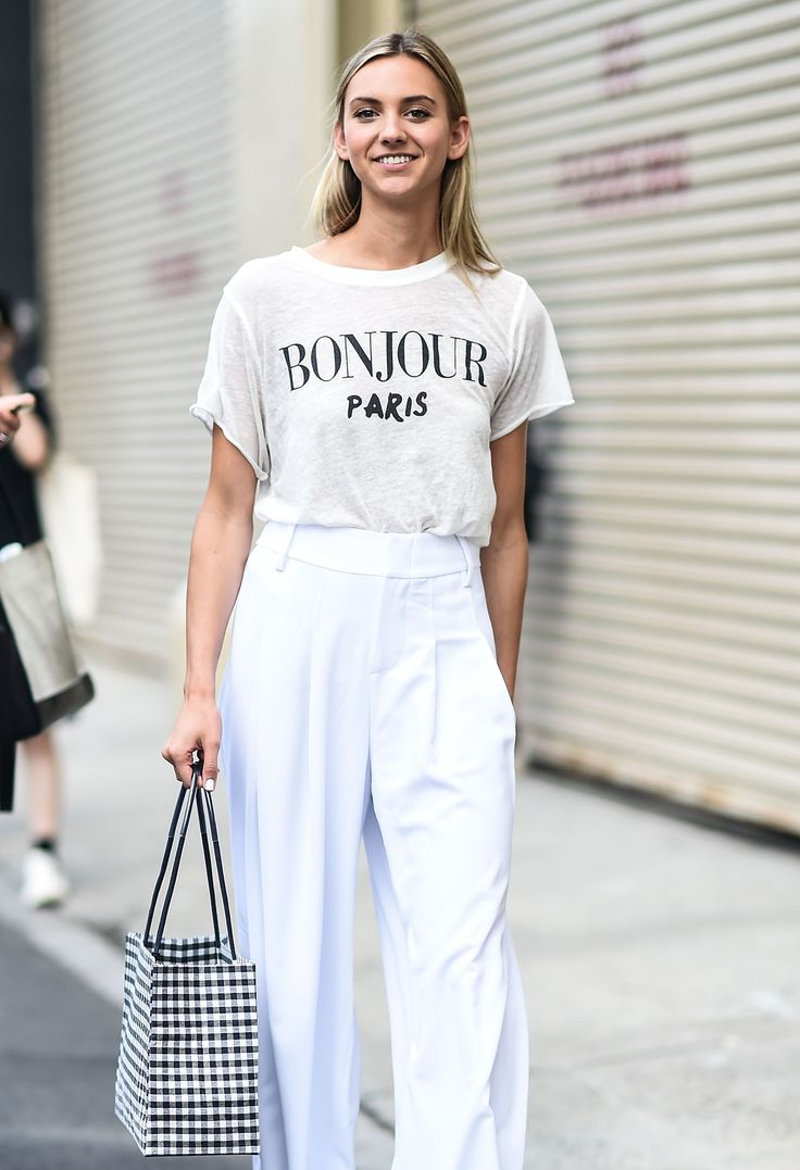 Browse the best street style looks from Men's Fashion Week Spring 2017 | slogan tee, all-white ensemble