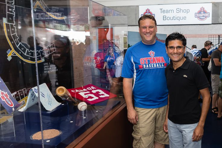 Showcasing our history in Ottawa and baseball - President David Gourlay and Ottawa Center MPP, Hon. Yasir Naqvi at RCGT Park September 2015 / Photo by Marc Lafleur