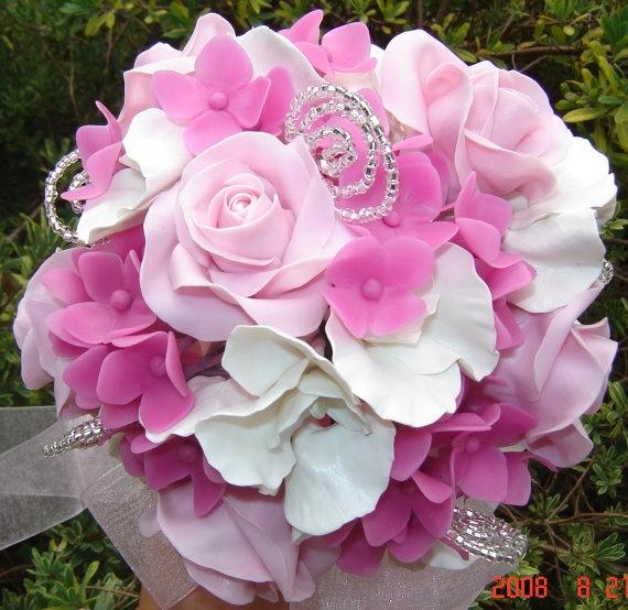 pink clay wedding bouquet