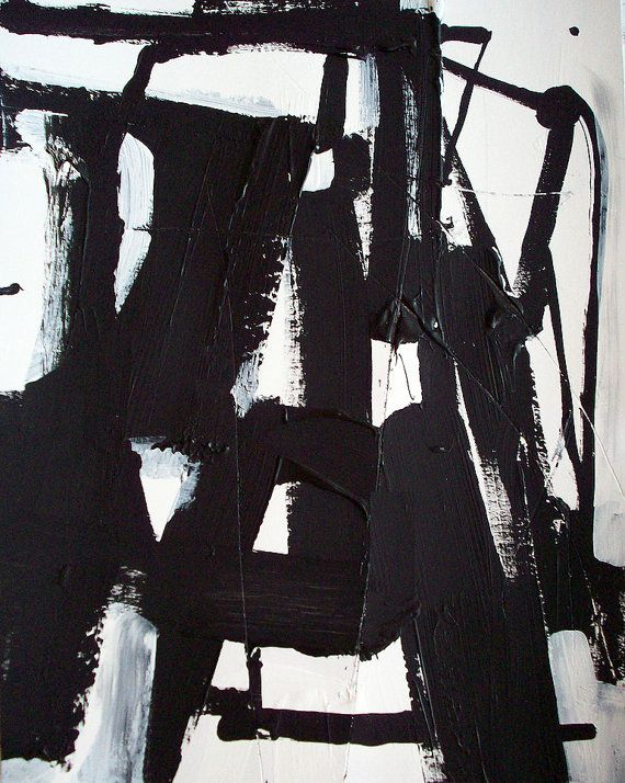 Original geometric black and white modern art abstract urban architecture painting by DJ DOMI