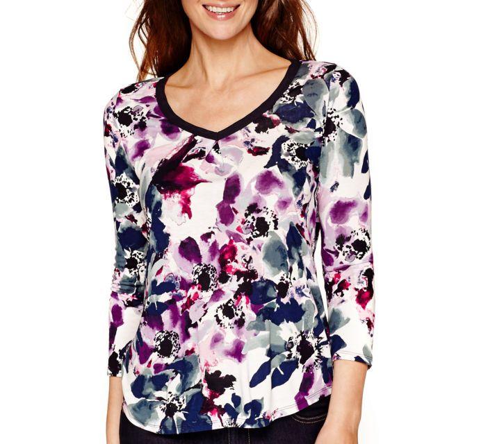 23 best flower shirts blouses images on pinterest shirt for Liz claiborne v neck t shirts
