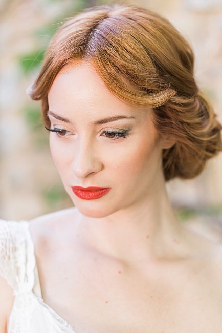 Red lipstick for passion! Bridal hair & makeup by Antigoni Livieratou. Photo by @pene