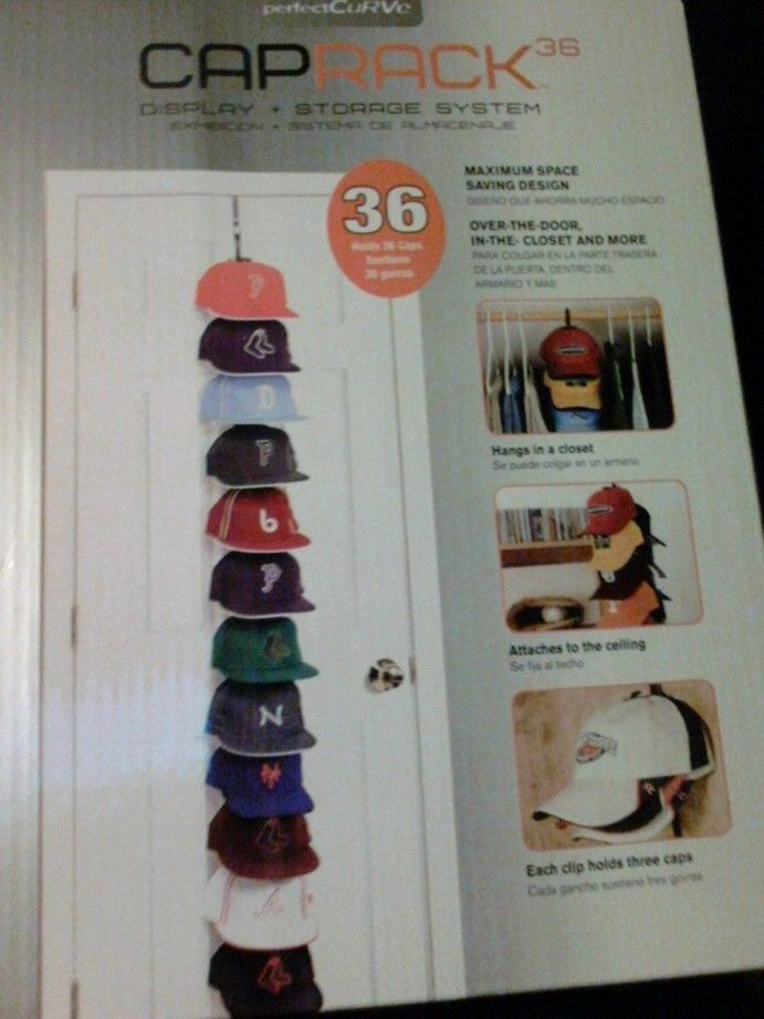 Perfectcurve Caprack 36 Baseball Cap Hat Holder Rack Organizer Storage Closet