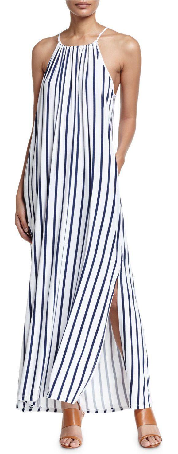 Dress up meaning - Vertical Stripe Jersey Maxi Dress