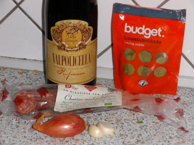 Chorizo i rødvin; godt til tapas