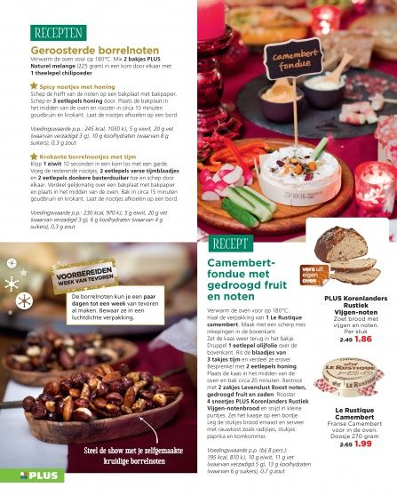 Roasted nuts / Camembert fondue with dried fruit and nuts