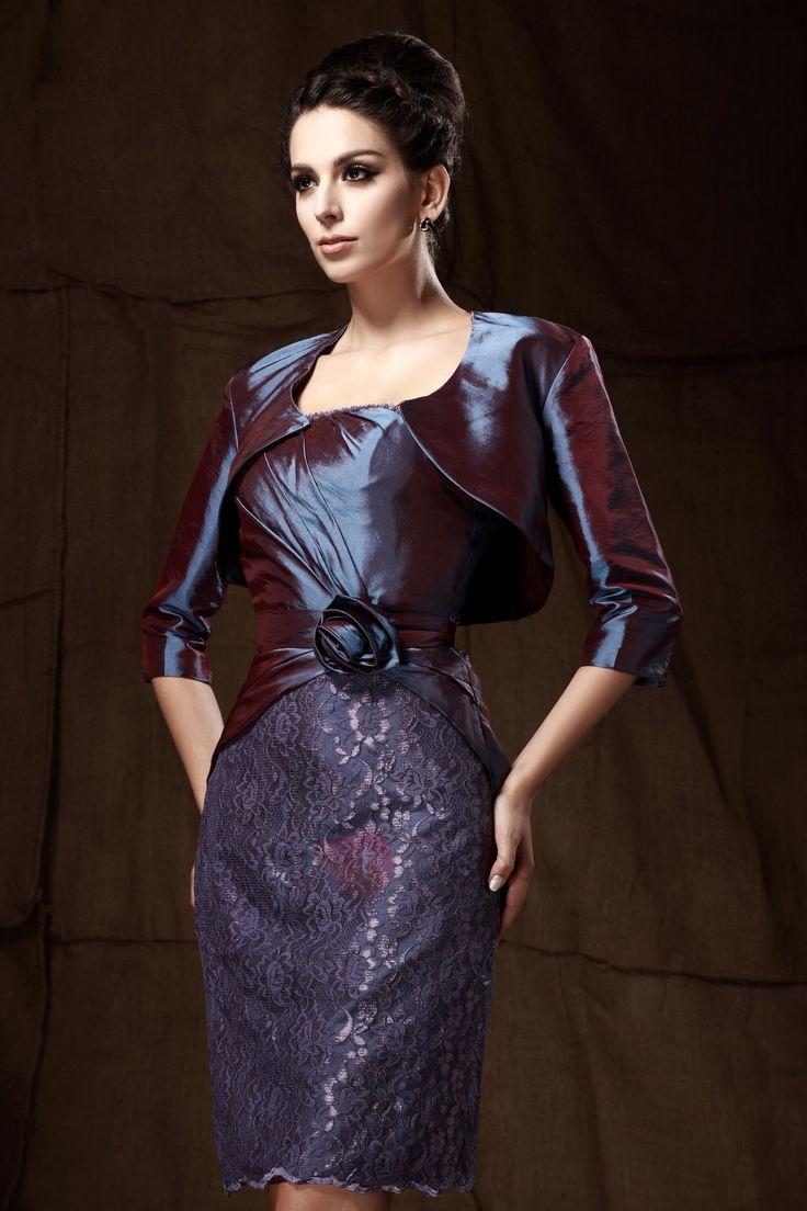 Vestido para Madre de la Novia con Apliques con Flor Vaina Rodilla-Largo sin Tirantes Taline's  (Envío Gratuito)