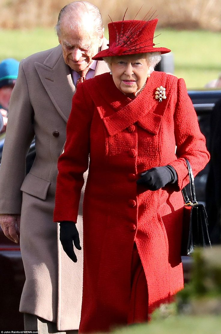 dailymail: Sunday Service, St. Peter and St. Paul's Church, West Newton, February 4, 2018-Queen Elizabeth and the Duke of Edinburgh