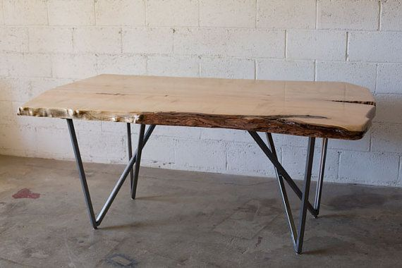 Live edge maple dining table with metal legs office for Dining table with metal legs