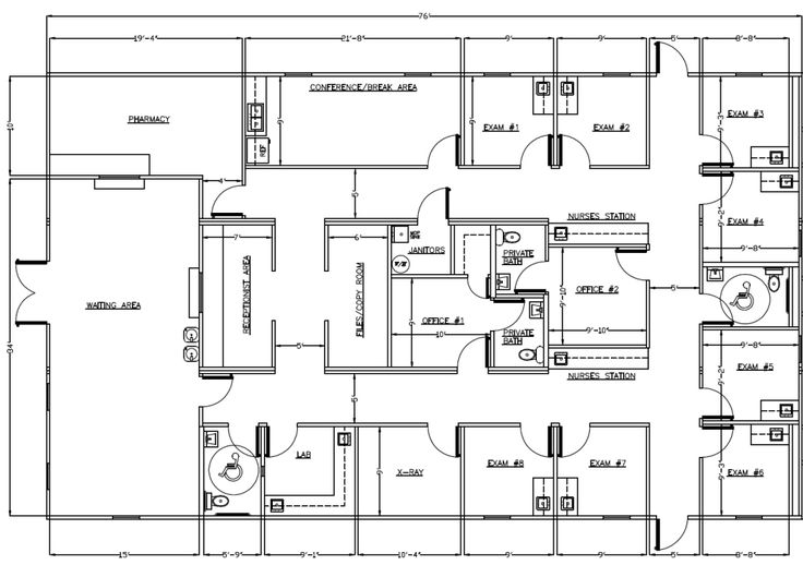 Medical office layout sample floor plans and photo for Commercial building floor plans free
