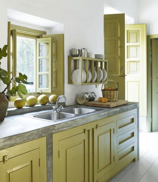 Kitchen Cream Contemporary Wooden Cabinet With Rectangle Sink Also Plant And Brown Fruit Besides Basket  Plates  Simple Rack   Small Kitchen for Your Small House