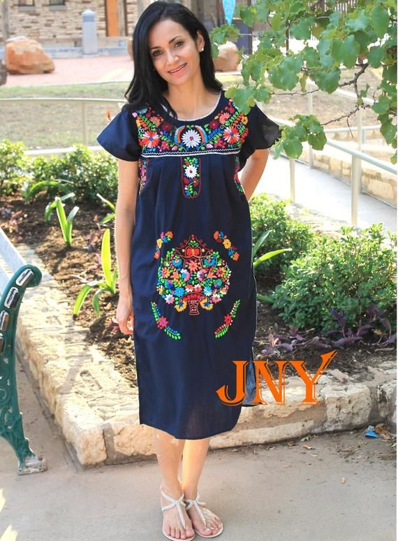418e14db7764 Mexican Dress Puebla Navy Blue with Multi Colored Embroidery Short Sleeve  Dresses, Dresses With Sleeves