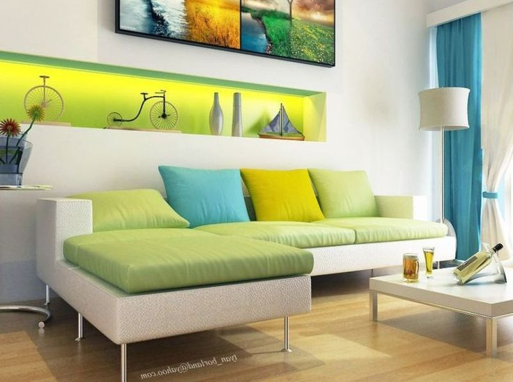 Living Room Decorating Ideas with Green White Color Schemes | House ...