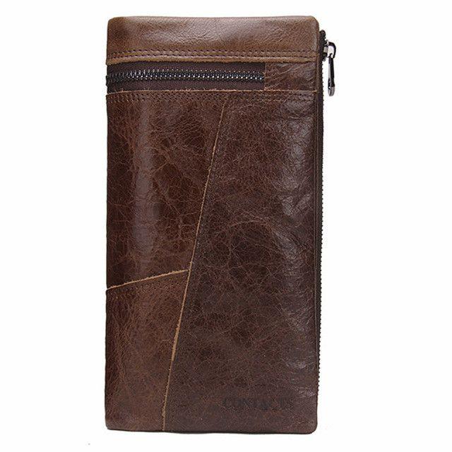 Genuine leather Men Wallets Crazy Horse Leather Purse Zipper Coin Pocket Vintage Wallet Patchwork Design Men Bag