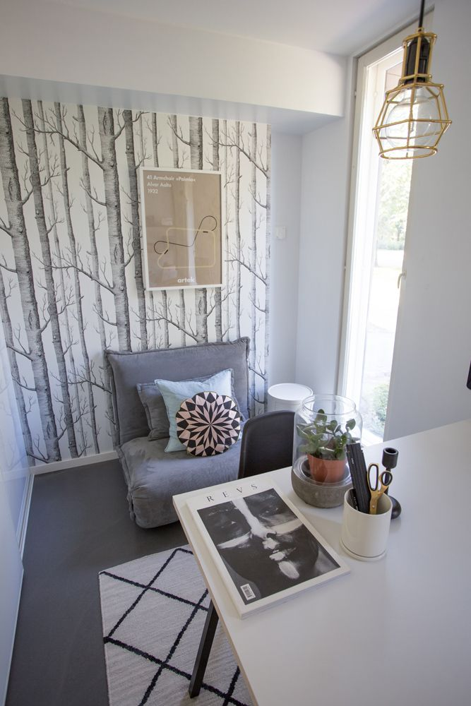 työhuone, work lamp, koivutapetti, cole & son, varavuode, artek, artek-juliste, työpöytä, arbetsrum, study
