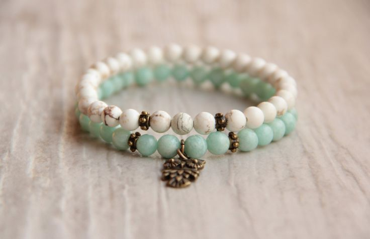 Beaded bracelet set Turquoise mint bracelet Double owl bracelet Small bracelet Gift for girl Gemstone Bracelet stretch bracelet Boho Chic by AllAboutHandmade1 on Etsy https://www.etsy.com/uk/listing/286029163/beaded-bracelet-set-turquoise-mint
