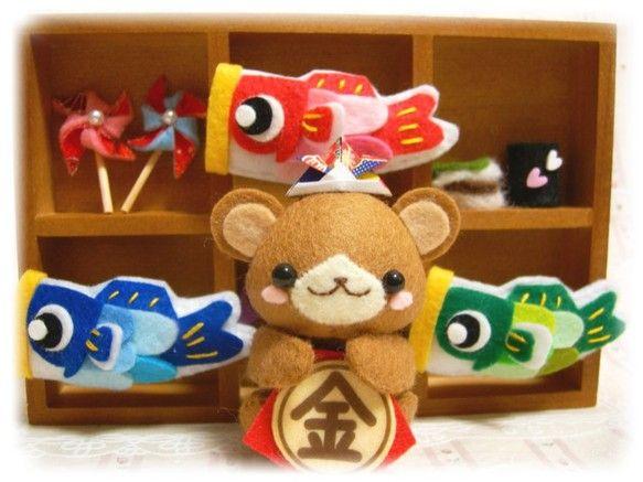 手作りフェルト*ハンドメイド*くまちゃんと鯉のぼりの5月飾り*置き型フレーム