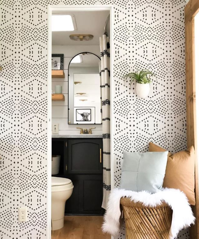 Rv Wallpaper How To Use Peel Stick Wallpaper To Transform Your Camper Remodeled Campers Diy Camper Remodel Camper Trailer Remodel