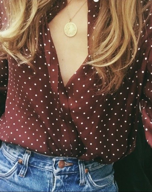 silk polka dot blouse