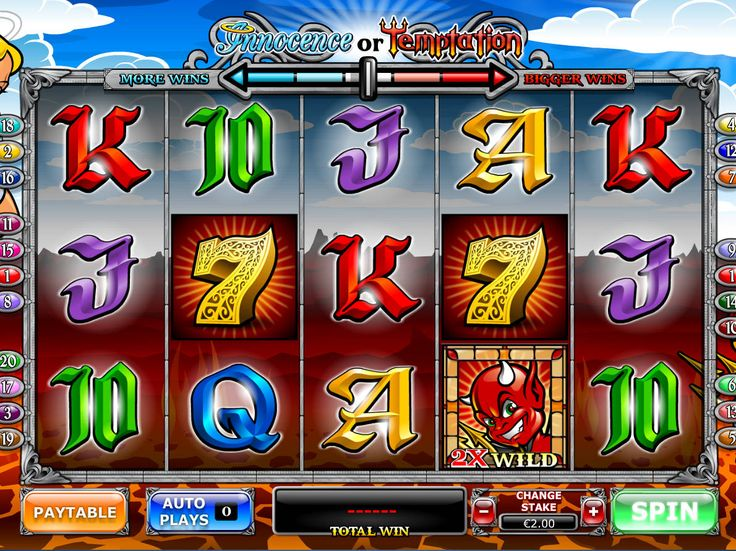 Annocence or Temptation - http://freeslots77.com/annocence-or-temptation/ - Free Angel or Devil slot bursts with gaming thrills in vivid colors and graphics. It's a rendition from Playtech running on 5 reels and 20 active lines. The landscape in this slot machine can be altered between fiery hell and blue sky depending on your game settings. There is a slider, which can ...
