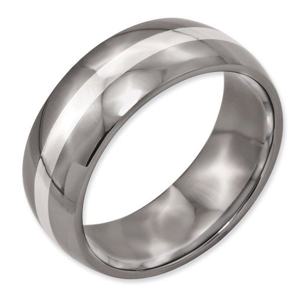 Titanium Sterling Silver Inlay 8mm Polished Men's Wedding Band