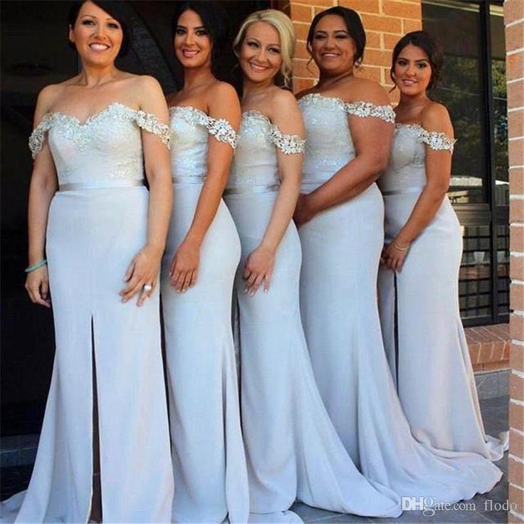 Cheap Light Blue Chiffon Split Plus Size Bridesmaids Dresses 2017 Under 100 Off The Shoulder Lace Wedding Guest Dress Maid Of Honor Gowns Petite Bridesmaid Dresses Sage Green Bridesmaid Dress From Flodo, $79.14  Dhgate.Com