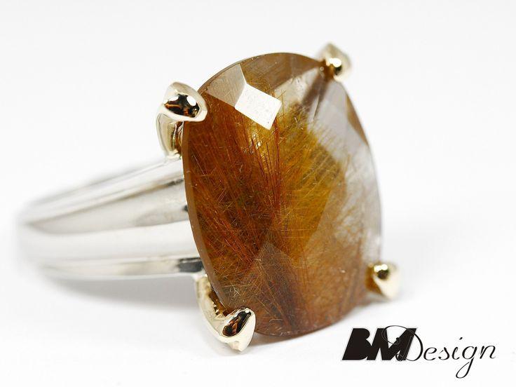 Pierścionek z kwarcem z rutylem pierścionek z kolorowym kamieniem naturalnym biżuteria na zamówienie autorska biżuteria Rzeszów BM Design złotnik Rzeszów Jubiler Rzeszów Biżuteria Rzeszów