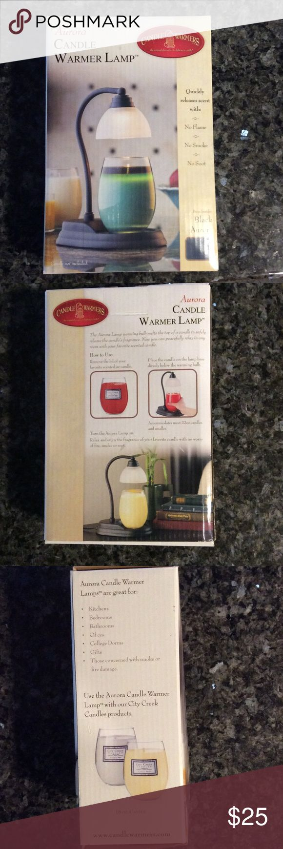 Aurora Candle Warmer Lamp - New in Box NEW in BOX no flame, smoke or soot!  Enjoy the aroma of your favorite candle without worry!  Accommodates most 22oz and smaller jar candles.  Safely melts the top of a candle to release the fragrance. Candle Warmers Other