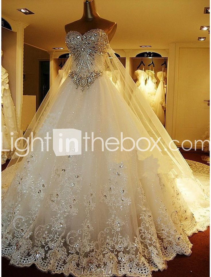 A-ligne sweetheart cathédrale train robe de mariée en tulle avec perles brodées de mariée de 2688135 2018 à €250.31
