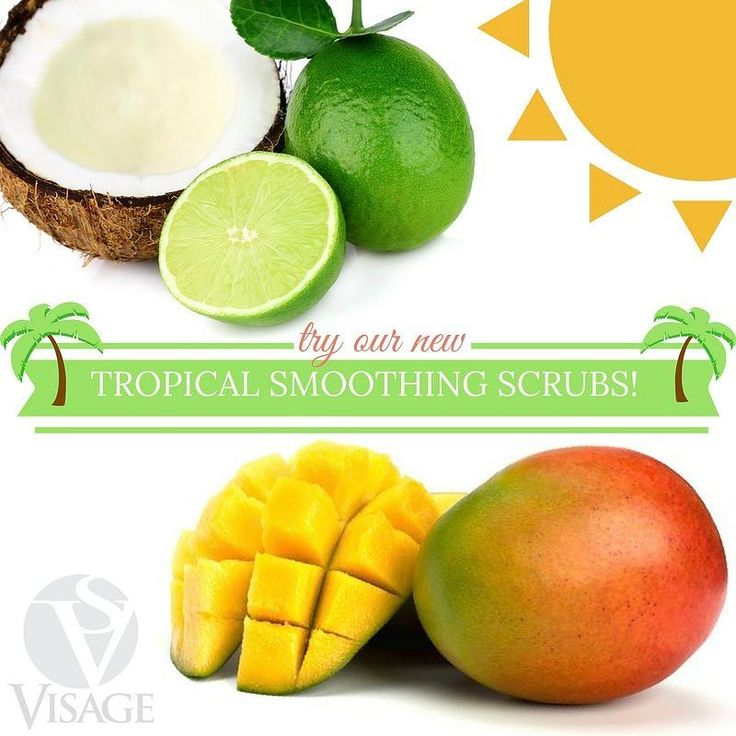 N E W Tropical body scrub scents at Spa Visage: Mango & Coconut-Lime!  Try a tropical body smoothing treatment or add a tropical scrub to your pedicure & enjoy a refreshing glass of punch while you soak!  #spavisage