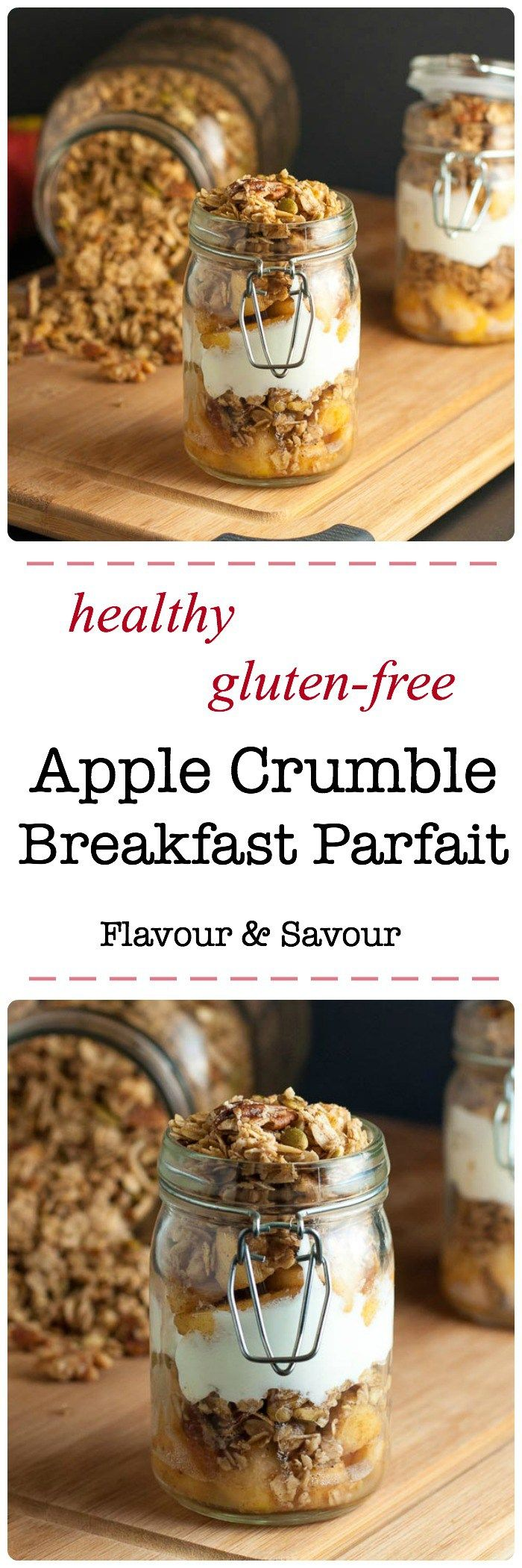 Healthy Gluten-Free Apple Crumble Breakfast Parfait. Pack your breakfast in a jar and feel like you're having dessert! |www.flavourandsavour.com