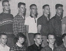 Legendary Syracuse University basketball coach Jim Boeheim (center back) in his Junior class photo at Lyons High School in Lyons, NY, 1961.    #JimBoeheim #LyonsHighSchool #SyracuseBasketball #Lyons #1961 #1960s #yearbook #celebrityYearbookPhoto #Olympian