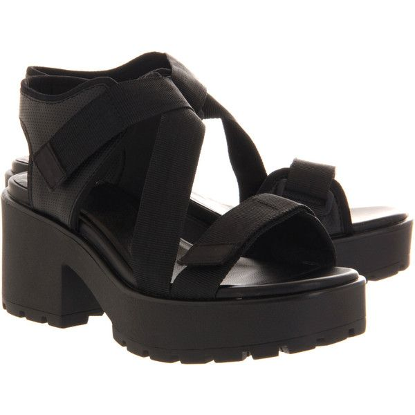 Vagabond Dioon Sandal (£42) ❤ liked on Polyvore featuring shoes, sandals, shoes - sandals, black, high heels sandals, sport sandals, chunky platform sandals, black shoes and black platform sandals