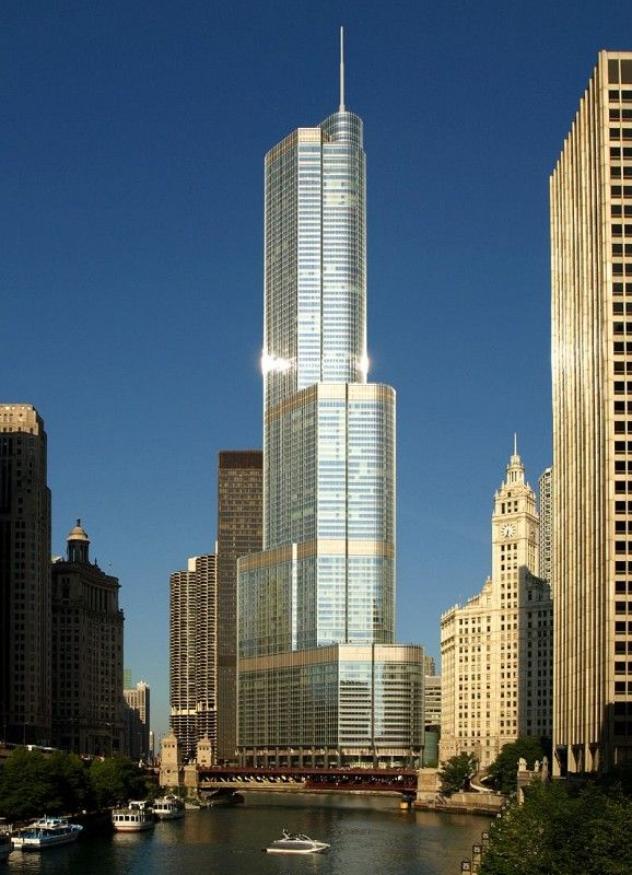 Trump International Hotel & Tower in Chicago by SOM ( completed in 2009, 423.2 meter/1389 ft, 98 story)