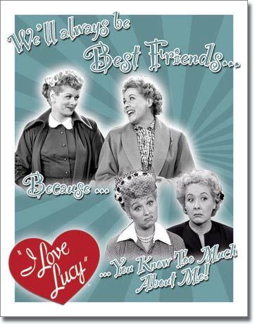 I Love Lucy Cartoon   Vintage Retro Tin Sign I Love Lucy Best Friends Ethel   eBay