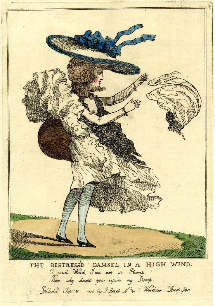 'O cruel Wind, I am not so Plump, Then why should you expose my Rump.' 18 September 1786 Hand-coloured etching