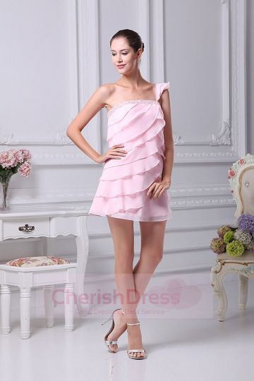 Mini/Short A-Line One Shoulder Dress with Ruffles Beading