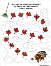 Fall/Autumn Preschool and Kindergarten Math Worksheets