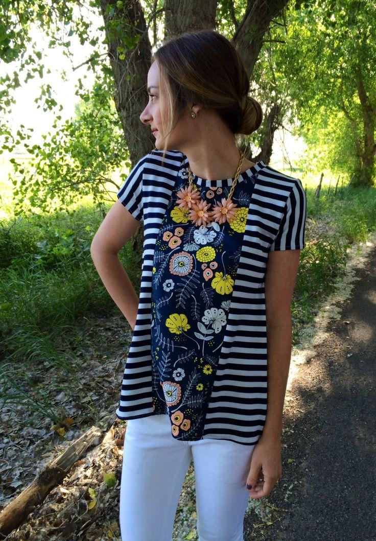 Sunny Swing Tee Sewing Pattern FREE. DIY refashion inspiration!!! Two shirts