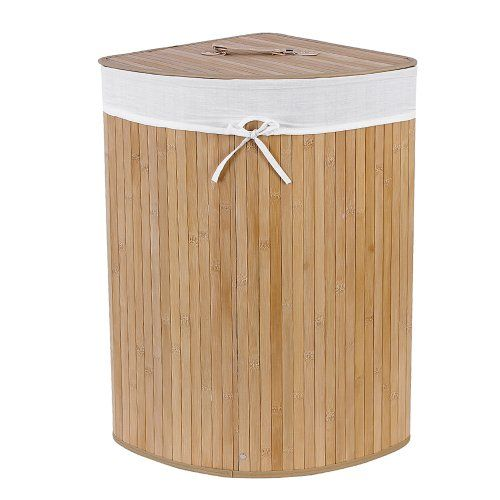 Songmics Bamboo Laundry Basket Laundry Box with Lids 35 x 35 x 60cm Triangle LCB46S