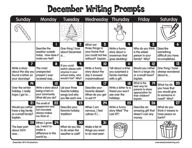 December is a great time for kids to get creative and write every day!