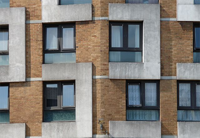 Detail of Sivill House, Columbia Road: A close-up of its distinctive brick and concrete surface patterning.