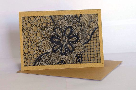 Handmade greeting card style GC007 set of 3 - ethnic abstract drawing - all occassion