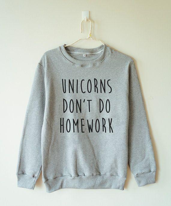 Unicornios no tarea camiseta cita divertida unicornio suéter ropa puente suéter manga larga camisetas mujer camiseta hombres camiseta