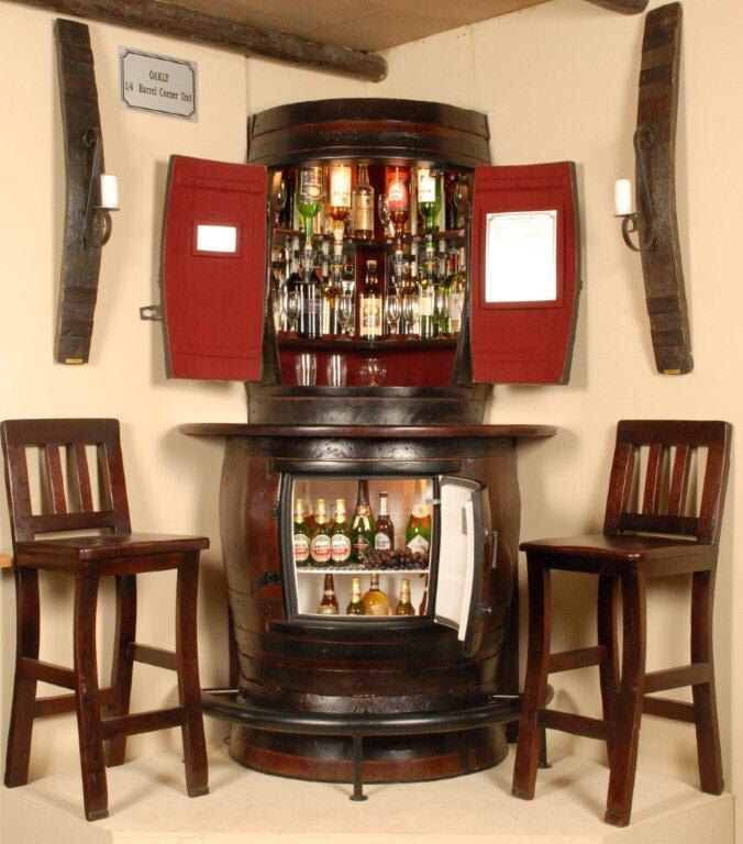 Oakly Corner Liquor Cabinet With Bar Fridge And Two Stools By Oaklybarrelbars On Etsy