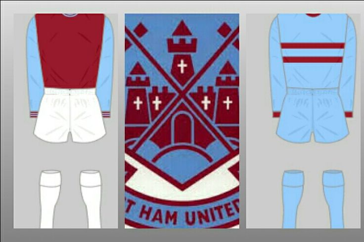 West Ham home and away kits for 1966-75.